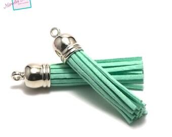 4 tassels suede 58 mm, silver, mint green Bell