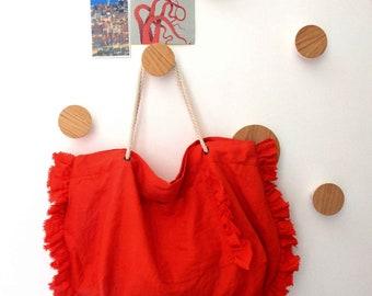 Bosa ruffled tote bag - coral red linen