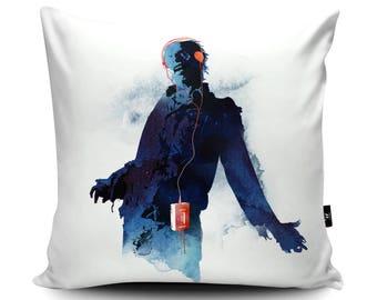 Zombie Walkman Cushion by Robert Farkas   Walking Dead Zombie Pillow   Zombie with Headphones Gift   Music Cushion Cover   Zombie Decor