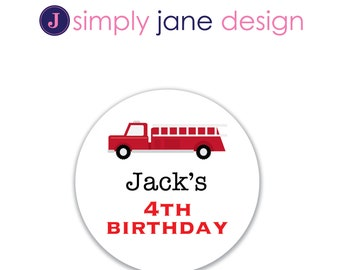 Fire Truck Stickers , Return Address Labels, Favor stickers -- Sheet of 12 or 20