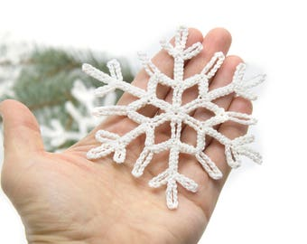 Crocheted snowflake, Christmas decorations, Christmas tree ornaments,  for children, eco toys - 5 Pcs - MiniMom's -