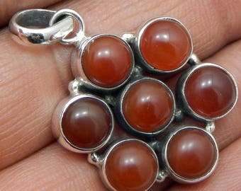 100% Solid 925 Sterling Silver Red Onyx Gemstone Handmade Jewelry Pendant