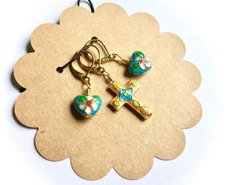 Removable Stitch Markers - Closable - Set of Three (3) - Pink and Blue Cloisonne Cross and Heart - L57