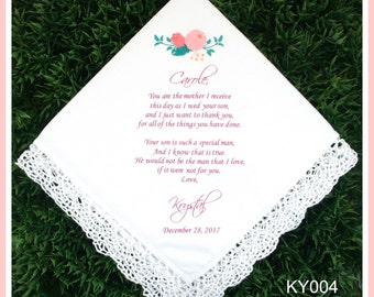 Mother of the Groom Handkerchief from the Bride-Wedding Hankerchief-PRINT-CUSTOMIZED-Wedding Hankies-Mother in Law-Mother of the groom gift