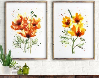 California poppy watercolor painting Living room wall art Set of 2 Floral prints, Botanical art Yellow wall art Yellow flower home decor