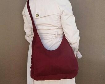 Handmade Crossbody Shoulder Bag in Dark Red Velvet - everyday sling purse for her - casual handbag - Marion