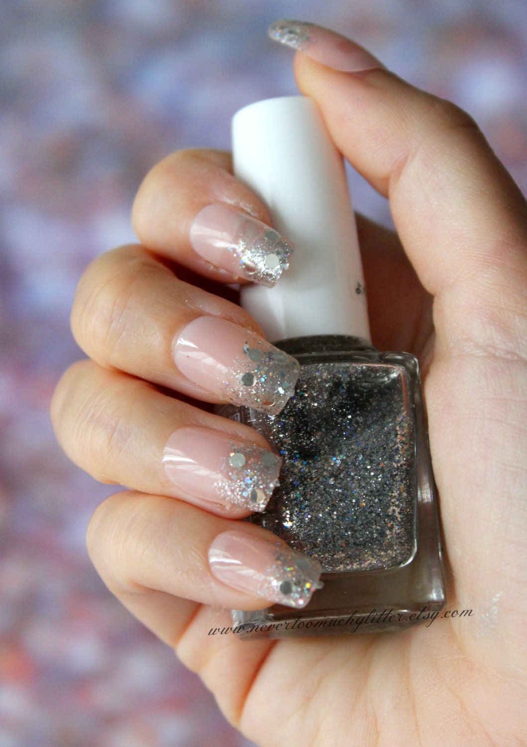 Glitter Ombre French Nails | Glitter Dip Tip Fake False Nails | Pink ...