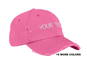 CUSTOM TEXT Distressed Baseball Hat   Pink Hat, Custom Embroidered Washed Hat, Custom Hat, Personalized Hat, Unstructured Hat, Dad Hat