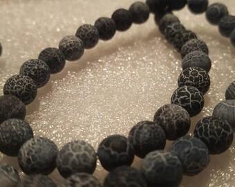 1 strand black Dragon Vein 8mm Beads-Approx 45 beads
