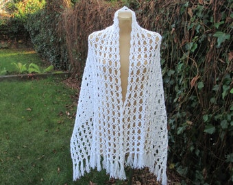 Long Wool Scarf / Hand Knitted / Warmer / White / Crocheted / Wool / Acrylic