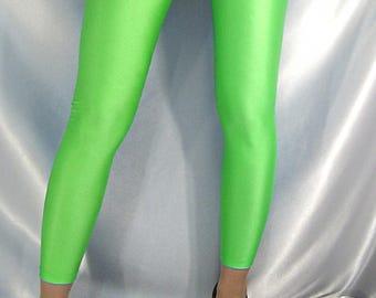 Shiny spandex footless stockings Leg warmers neon green