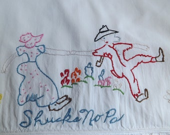 Country Couple Hand Embroidered Pillowcase