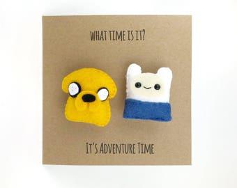 Adventure Time card, Jake the dog, Finn the Human, Adventure Time badges, cute pins, cute birthday card