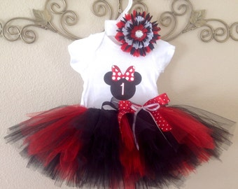 Minnie Mouse Tutu Set WITH NAME, 1st Birthday Minnie Mouse Outfit, Minnie Mouse Birthday, Minnie Mouse Birthday Outfit,