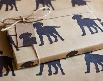 Handprinted Puppy Dog Wrapping Paper Including 1 x Gift wrap, 2 x Gift Tags & Twine.