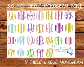 Michele Circle Monogram Embroidery Font - 3.5 inch