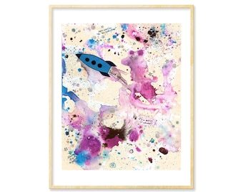 Outer Space Art, Starry Night, Rocket Ship, Bright Nursery Art Print, Abstract Watercolor Print, Galaxy, Ink Splatters, Space Ship, 8.5x11