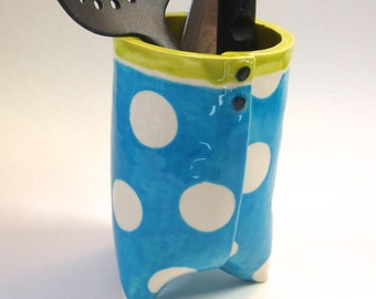 bright blue polka-dot Utensil Holder -- ceramic vessel or vase w/ chartreuse, 3 footed pottery kitchen decor