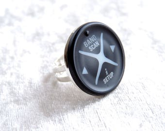 Recycled black and silver ring