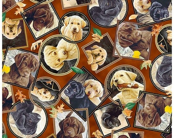 Labrador-Able~ Cute Puppy Patches Cotton Fabric By Quilting Treasures