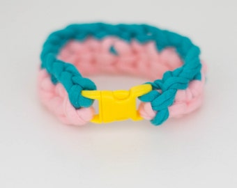 Green/Pink Crochet Bracelet with Mini Buckle Closure