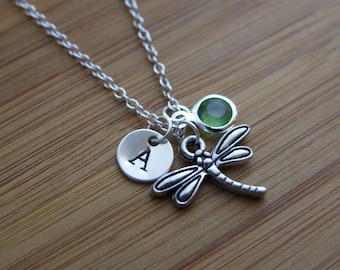 Dragonfly Necklace, Insect Necklace, Spring Jewelry, Personalized, Birthstone, Hand stamped Initial, Sterling Silver, Monogram, Easter gift