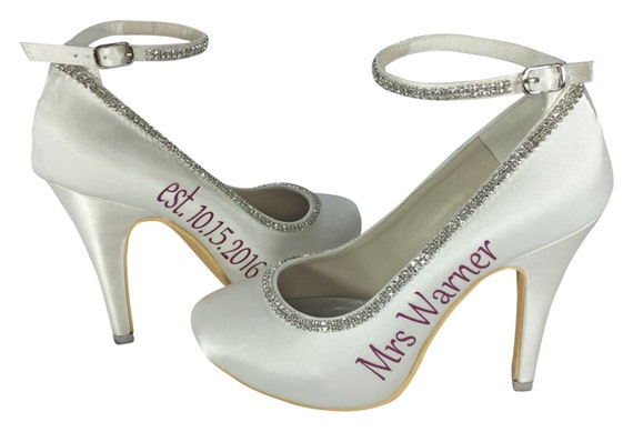 the with Pumps inch Wedding Bling Shoes Strap High for Bride Custom made 4 Ivory Rhinestone Satin Heel Rq6OO8