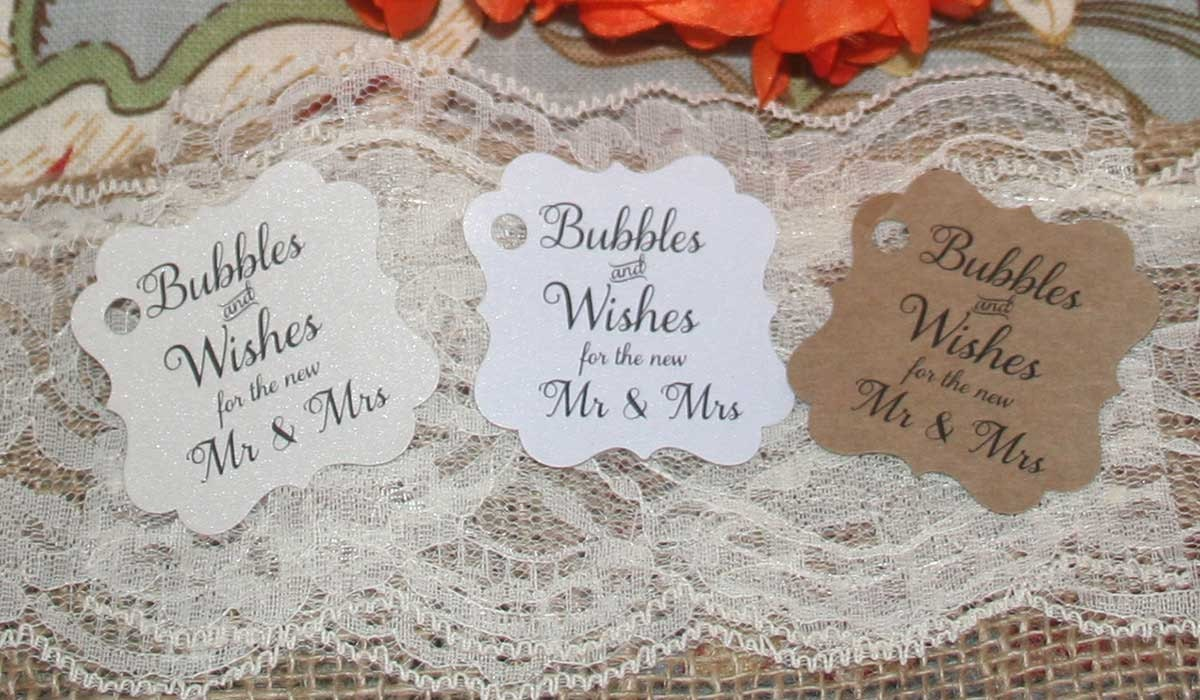 Bubbles and Wishes for the new Mr and Mrs, Gift Tags, Wedding Favor ...