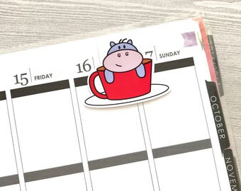 Kawaii Hippo in a Cup Magnetic Bookmarks, Planner Page Markers //MB07