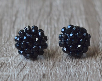 Black stud earrings, stud earrings, black earrings, round studs, cluster earrings, black studs, simple earrings,