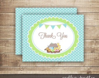 Noah's Ark Thank You Card /  Baby Boy Shower or Baptism, Christening, Dedication / Turquoise & Green - INSTANT DOWNLOAD - Printable