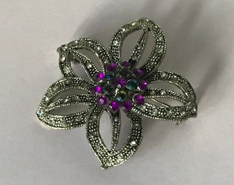 Vintage rhinestone purple flower brooch, purple flower pin, silver and purple flower brooch, purple brooch, purple pin, purple jewelry