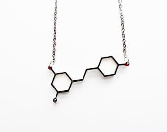 Red wine molecule necklace