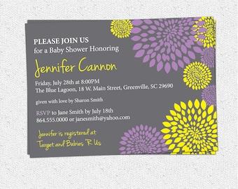 Baby Bridal Shower Invitation Printable Girl Purple and Lemon Yellow and Charcoal Grey Gray Floral Modern, DIY Digital File