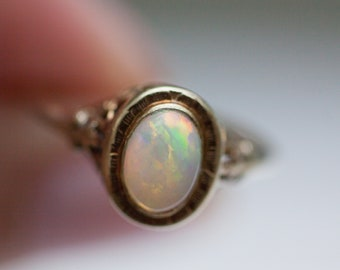Vintage 14k Solid Yellow Gold and Natural Opal Ring with Intricate Filigree, Size 5.5