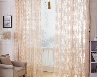 Greek Key Net Sheer Curtain Voile Panel. One Custom Made Panel. Choose Width and Length. Made To Order. Greek Key Jacquard.