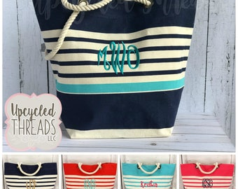 Monogrammed Beach Bag, Personalized Beach Bag, Monogram Tote, Striped Beach Bag, Monogrammed Bag, Monogram Bag, Custom Beach Bag