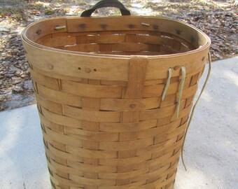Basket, Pack Basket, trapper basket, farm item, gathering basket, orchard basket, Allagsah Trading Post, Monroe Maine, vegetable basket