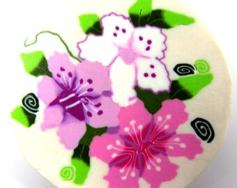 Large and unique polymer clay cane. Rich in details and consists of several flowers