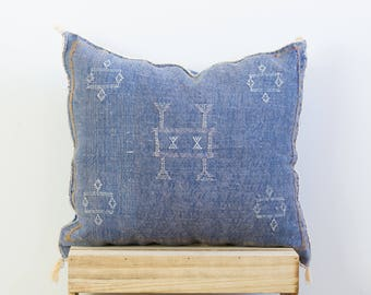 Vintage Sabra Cushion Cover - Faded pillow , Silk cushion, Throw pillows,  Moroccan cushion pillow, Blue 006