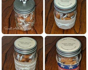 Gourmet Caramels in a Jar - VINTAGE, BURLAP, FLAG varieties - great gift idea, simple and classic - and delicious