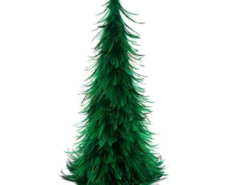 """Hackle Feather Tree 24"""" - Emerald"""