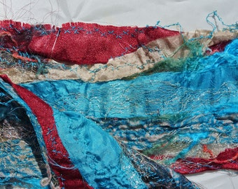 Sari Ribbon Scarf - Reds and Blues