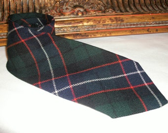 Vintage 1970's Lochcarron Hunter Plaid Wool Neck Tie
