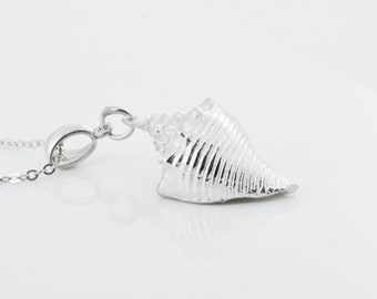 Conch Shell Pendant, Beach Jewelry, Silver Shell Necklace, Shell Jewelry, Sterling Silver, Nautical Jewelry, Gift For Her