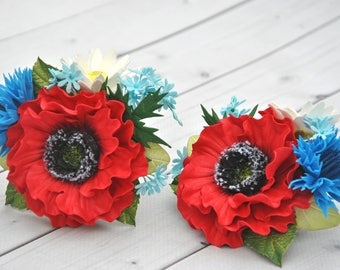 Red Poppy Hair Clip Hairpin Wildflowers Crocodile clip Poppy Camomile White Hair Daisy Clamp Girls Red Flower Rustic hair clip Cornflowers