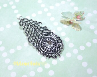 Large feather 79x33mm REF:2 antique silver tone Metal pendant / 275