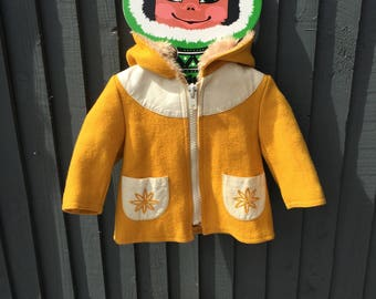 French vintage children's coat w hood, wool & leather yellow embroidered, 1 - 2 years
