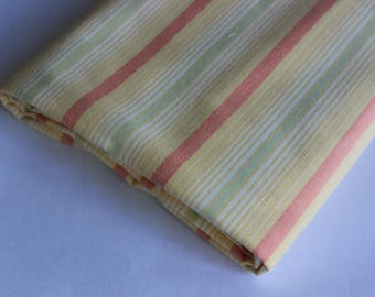 Pastel yellow, red & green stripe furnishing weight cotton