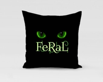 black cat pillow cover or case green cat eyes, feral toss Halloween feline cushion cover in velvet